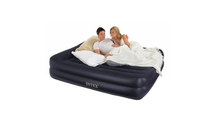 Queen Intex Deluxe Raised Pillow Rest Air Mattress Bed with Built-In Air Pump