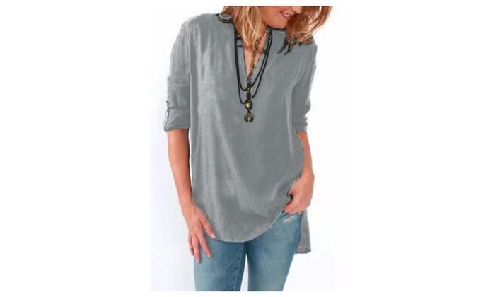 Women Blouse Shirt Basic Casual Vintage Shirts Blouses Loose