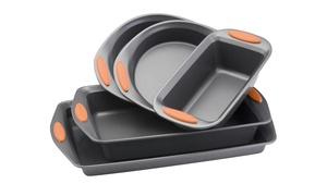 Rachael Ray Yum-o! Nonstick Bakeware 5pc Oven Lovin' Set, Gray w Orange Handles