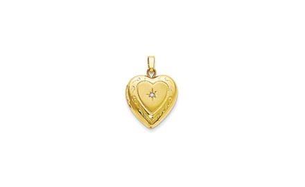 IceCarats Designer Jewelry 14KT Yellow Gold Polished 13mm Heart Locket Charm