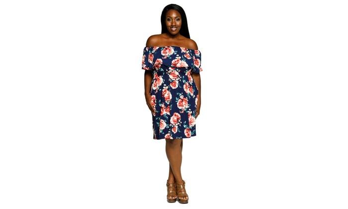 d4abe7c27c4 Xehar Women s Plus Size Off Shoulder Floral Ruffled Summer Dress ...