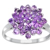 Orchid Jewelry Solid Silver 1 2/5 Carat Amethyst Cocktail-Cluster Ring