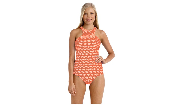 Women's Orange White Tidal Wave High Neck One Piece Maillot