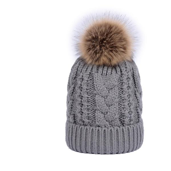 27787d50f64 Women Big Hair Ball Twist Pattern Double Thick Warm Wool Knit Hat ...