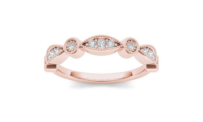 10k Rose Gold 1 10ct Tdw Diamond Wedding Band H I