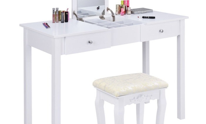 Vanity Table Dressing Flip Top Desk Mirror 2 Drawers Furniture With Stool