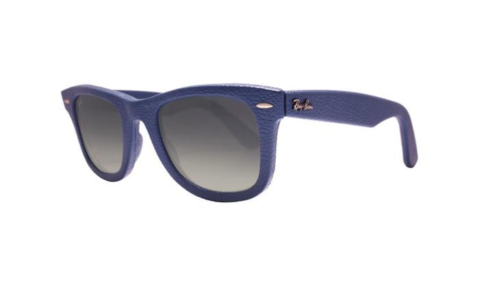 d0b055276db7 Ray Ban Wayfarer Leather RB2140QM 116871 50 Leather Blue   Grey
