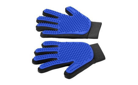 Pet Grooming Glove Brush Mitt Pet Hair Remover dogs and cats one pair - blue and black 16b9beb3-3ebe-49d3-bf27-a55d97af12c8