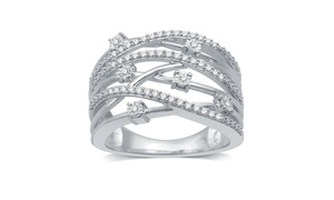 1/4 CTTW Diamond Multi Row Ring in Sterling Silver By DeCarat