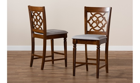 Oscar Fabric and Walnut Brown Wood 2-Piece Counter Height Pub Chair Set
