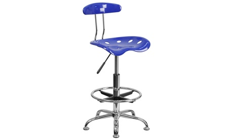 Vibrant Chrome Drafting Stool with Tractor Seat d089efd3-3692-4894-b4a0-c05fb5e8ba44
