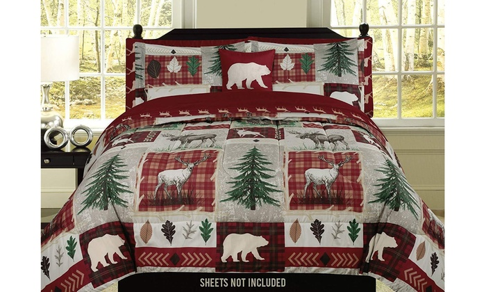 or King Plaid Bear Comforter Set Rustic Cabin Lodge Twin Full//Queen