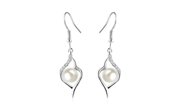 Platinum Diamond Pearl Heart Shaped Earrings White Gold