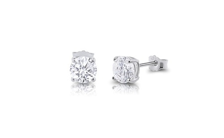 Sterling Silver Round Cut Clear Cubic Zirconia Stud Earrings 83af3a01-ad28-44fc-9421-bb838552c04f