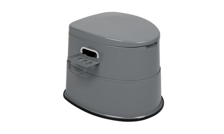 Portable Camping Toilet, with Detachable Bucket and Toilet Paper Holder, Grey