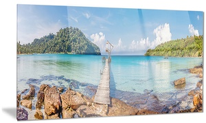 Pier to the Island Panorama Landscape Metal Wall Art 28x12