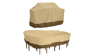 Veranda Grill Cover and Large Rectangular Patio Table & Chair Set Cover Bundle
