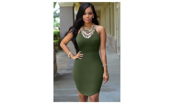Women's Army Green Strap Back Hollow-out Dress