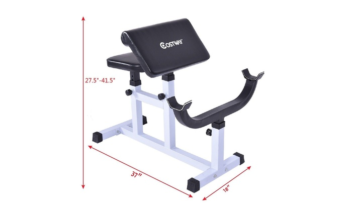 Preacher Curl Weight Bench Seated Arm Isolated Barbell Dumbbell Biceps Station