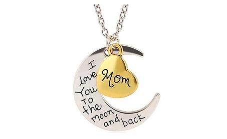 "Two-Tone ""Mom I Love You To The Moon and Back"" Heart Necklace 74e6f23b-1f1e-48e7-a5a1-5cc9b5369007"