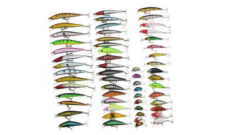56pcs Strong Mixed Minnow Fishing Lures Bass Baits Crankbaits Fish Hooks Tackle
