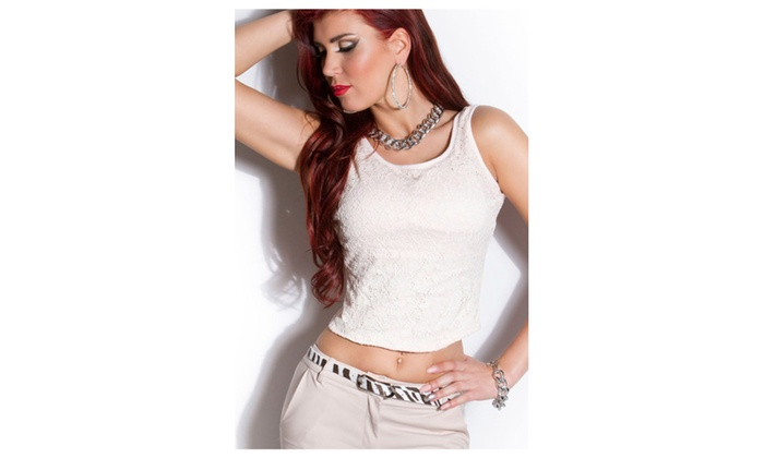 Women's White Low Back Cropped Lace Top With Bow