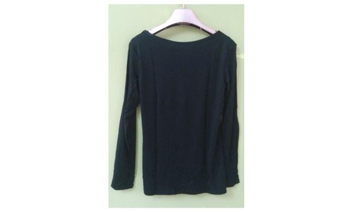 Women V-Neck Lace Shirt and Blouse Black - USB753