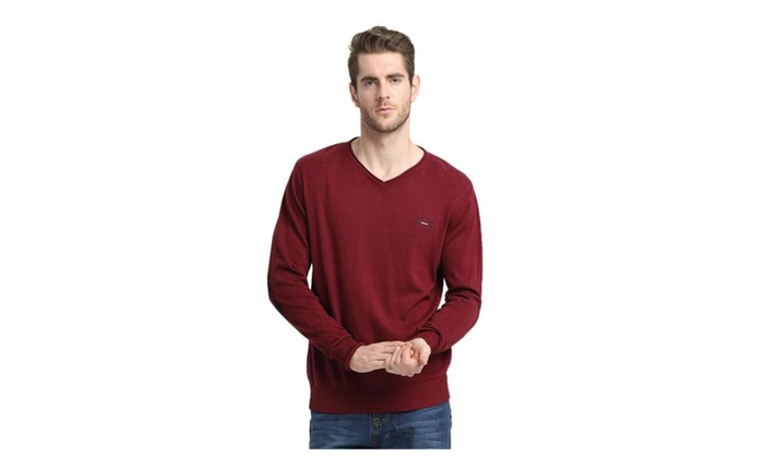 Men's V neck Pure Color Pullover Sweater