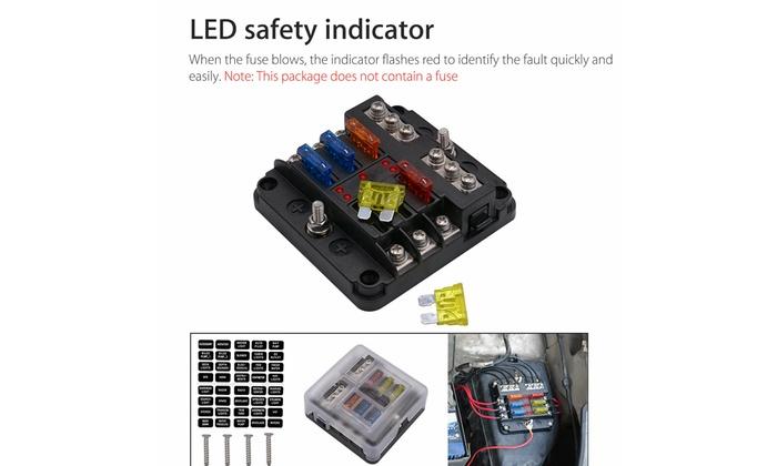 12V//24V Car 6 Way Circuit Standard ATO Blade Fuse Box Block Holder 6 Fuses