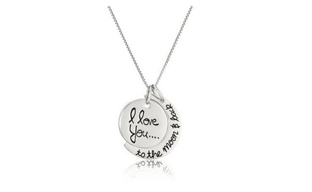 Sterling Silver I Love You To The Moon & Back Pendant Necklace ddb8c198-641f-4a36-975a-773f07d94160