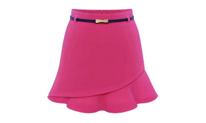 Women's Solid Simple High Rise Casual Fashion Skirts - Red / One Size
