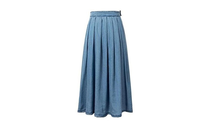 Women's Vintage Fitted Cotton Denim Jean Pleated Long Maxi Skirt