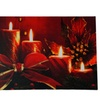 "LED Red Glitter Stripe Candle Poinsettia Christmas Wall Art 12""x15.75"""