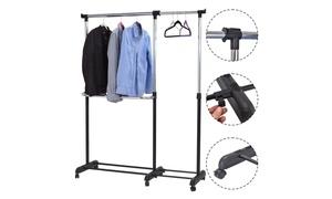 Adjustable Heavy Duty Garment Rack Rolling Clothes Hanger Extendable Rail Rack