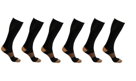 Unisex Copper-Infused Knee High Compression Socks (6-Pack) 333e56b3-eb52-4bd2-bef8-3f7e2596ecfe