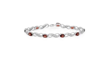 4.85ctw Sterling Silver Garnet & White Diamond Infinity Link Bracelet 186f365e-cfc2-48f6-97e7-d8db968d01ba