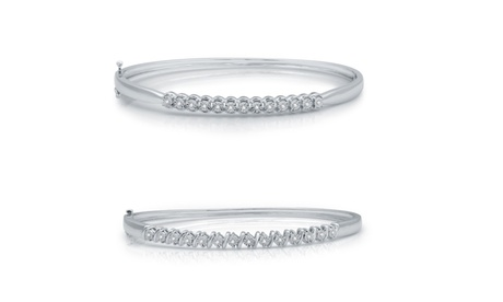 1/10 CTTW Diamond Bangle Bracelet in Sterling Silver By Decarat c86daadc-ca21-4a31-8c19-120e7fa030bd
