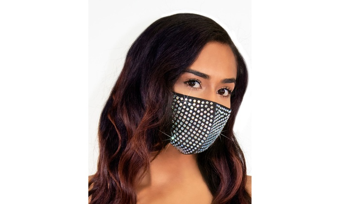 Leg Avenue Rhinestone 3d Fashionable Reusable Face Mask Groupon