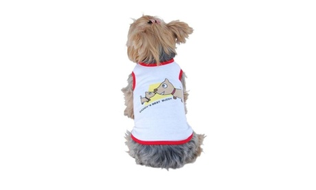White Red Daddy's Best Buddy Soft Cotton Tee For Dog Large 99e231fe-3647-4e10-b82e-3a47c9a7f015