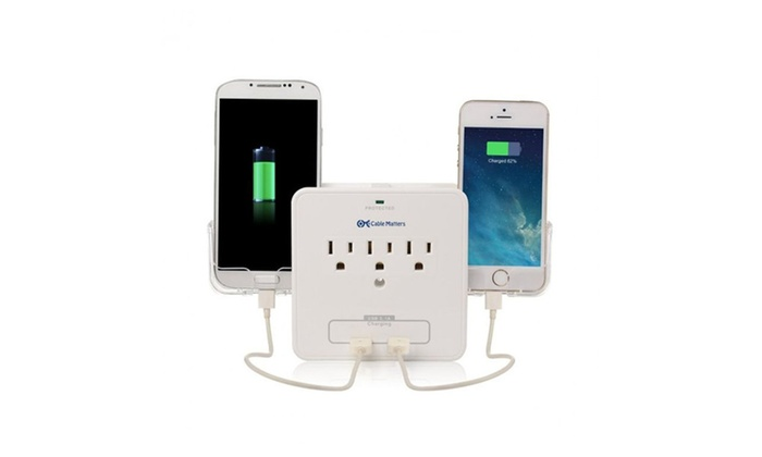 Smartphone Outlet phone charging outlet multiplier offers 2 usb ports and 2 smart