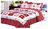 Homemartgoods: 3PCS Quilt Set Red Green White Red Multi-Color Modern Design Quilt Bed