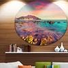 Giallonardo Beach Colorful Sunset' Seashore Photo Circle Metal Wall Art