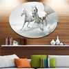 Running White Horses' Ultra Glossy Animal Oversized Metal Circle Wall Art