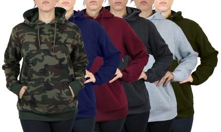 3-Pack Women's Loose-Fit Fleece Pullover Classic Hoodie
