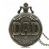 Dad Pattern Antique Bronze Quartz Pocket Watch with Necklace