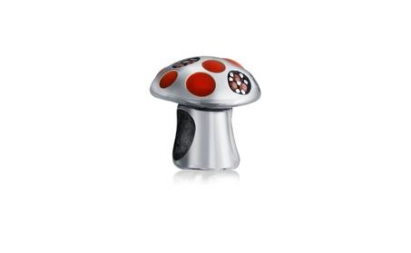 Bling Jewelry 925 Silver Enamel Whimsical Mushroom Crystal Bead f71b6765-5f3f-4594-b758-e7183c74a233