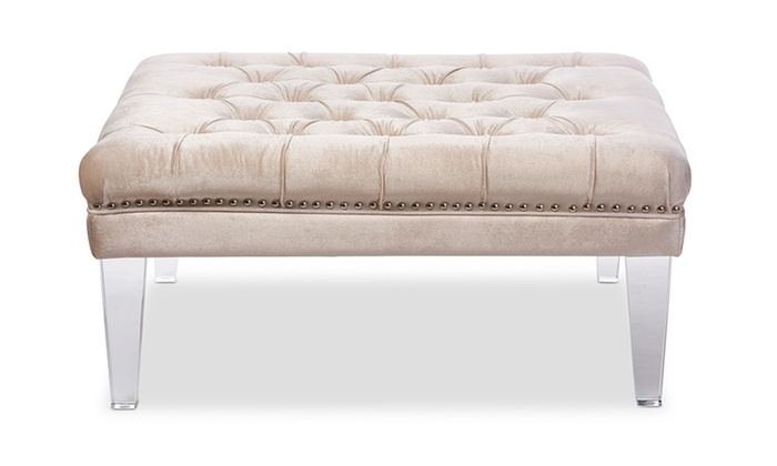 Admirable Edna Square Tufted Ottoman Bench With Acrylic Legs Groupon Creativecarmelina Interior Chair Design Creativecarmelinacom