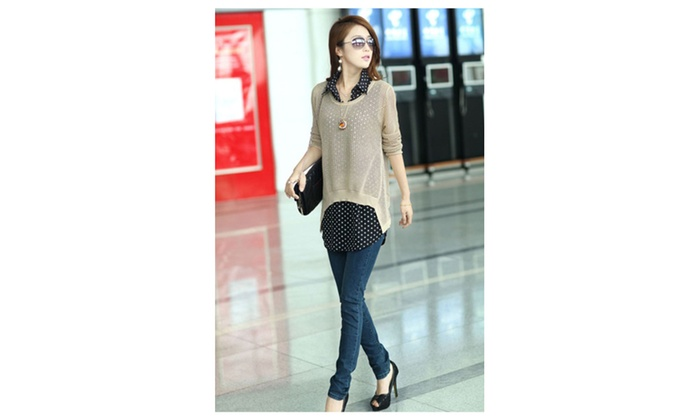 Women Chiffon Shirt with Knitted Top Upper Blouse Beige – USB760