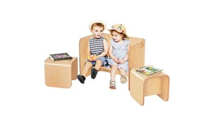 Costway 3 Piece Kids Wooden Table & Chair Set Children Multipurpose Furniture