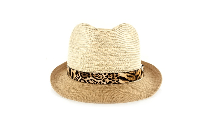 Faddism Fashion Fabric Straw Weave Fedora Hat With Leopard Leather